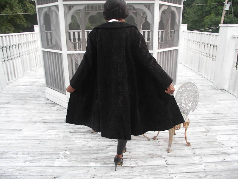 Genuine Russian Black Karakul Swakara Fur Coat Jacket S