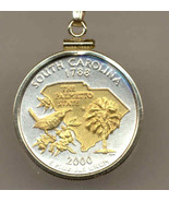 State of South Carolina , 2-Toned, Gold on Silver, Quarter Pendant Necklace - $85.00
