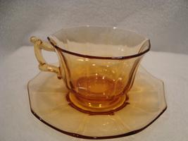 Cambridge Glass amber decagon pattern cup & saucer circa 1920-1935 - $15.00