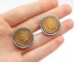 925 Sterling Silver - Vintage Shiny Two Tone Round US Coin Cuff Links - ... - $83.31