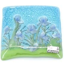 Fused Art Glass Purple Iris Flower Design Square Soap Dish Handmade Ecuador image 2