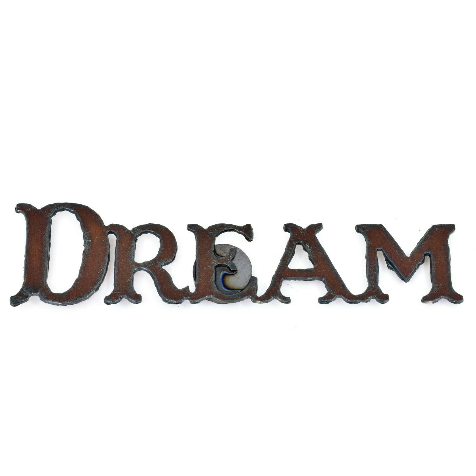 """Country Western Rusted Patina Iron Metal Cutout """"DREAM"""" 5.5"""" Magnet"""