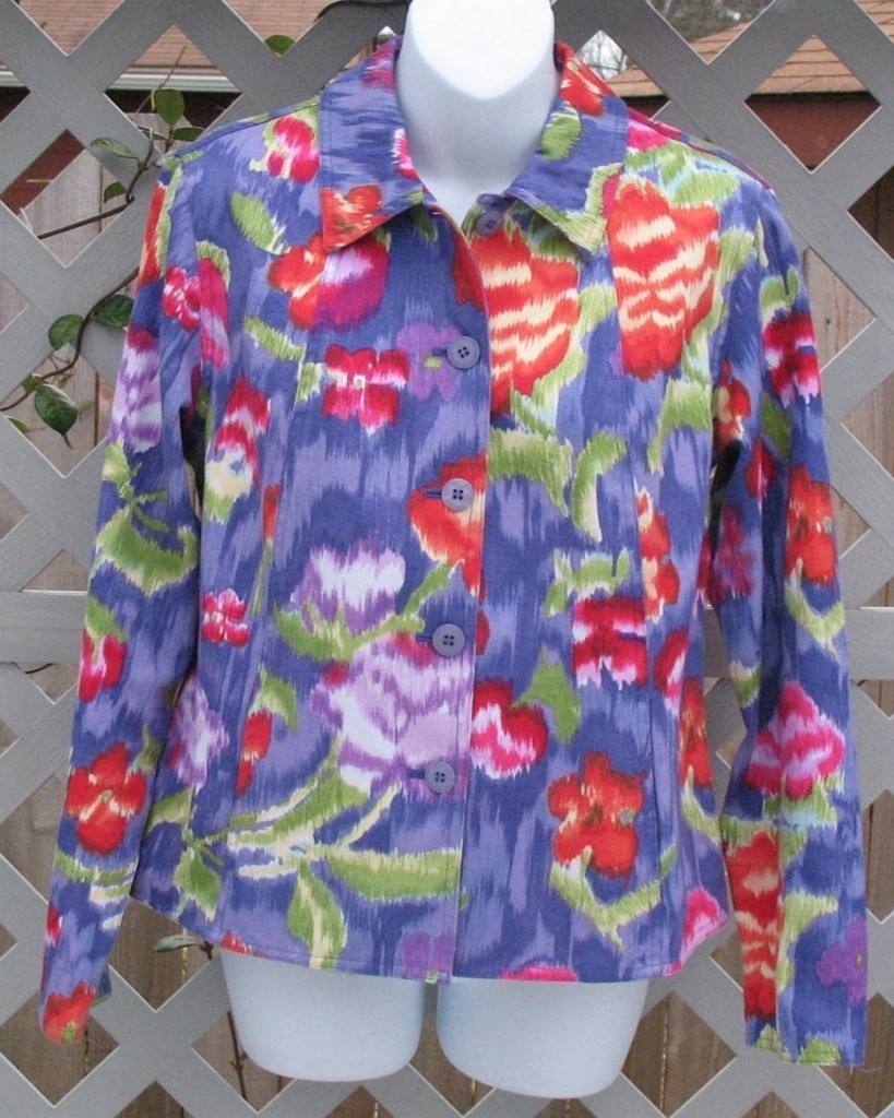 Small Coldwater Creek Purple Floral Cotton Jacket