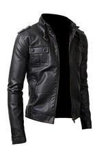 Mens Slimfit Cafe Racer Strap Pocket Black Biker Leather Jacket image 3