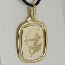 SOLID 18K YELLOW GOLD SAGITTARIUS ZODIAC SIGN MEDAL PENDANT, MADE IN ITALY image 2