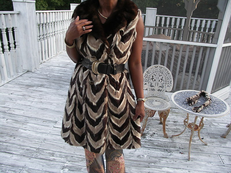 Mint Multicolor mink Fur vest sleeveless coat hat+bag S