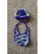 Handmade Crochet knit Newborn Baby Girl Hat And Bib Set purple and green - $5.99