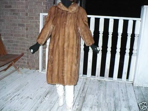 Mint Swing Full length brown Mink Fur coat jacket M