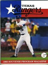 1992  Texas Rangers Souvenir Program Oakland Athletics Baseball Dean Palmer - $17.82