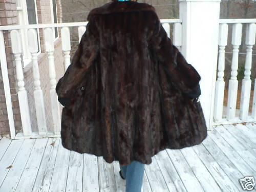 Mint swing Full length brown Mink Fur coat jacket S-M
