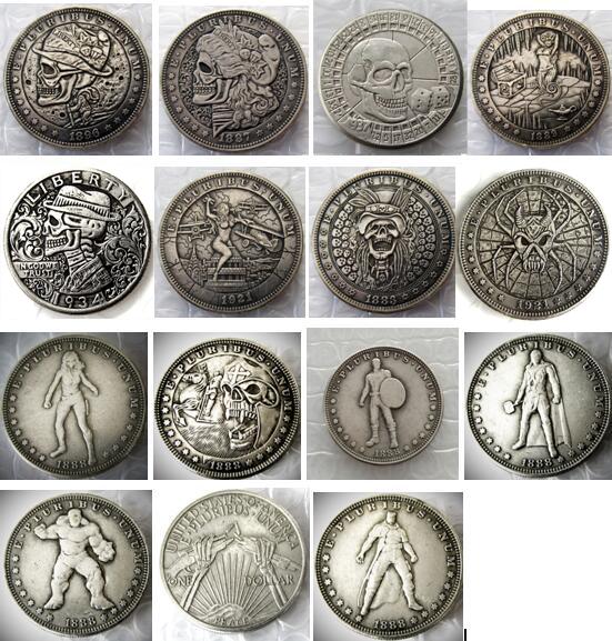 15pcs Rare Hobo Coins US Morgan Dollar Mixed and 50 similar