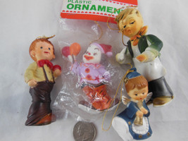 "Lot of 4 Vintage Christmas Plastic Ornaments New Clown 2 Boys Angel 2.5""... - $19.79"