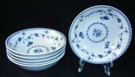 Set of 6 Royal Doulton YORKTOWN Fruit Dessert Bowl Blue Grapevine Ribbed... - £39.14 GBP