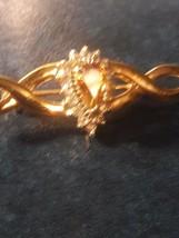 Yellow Stone and Rhinestone Brooch Pin Goldtone - $4.95