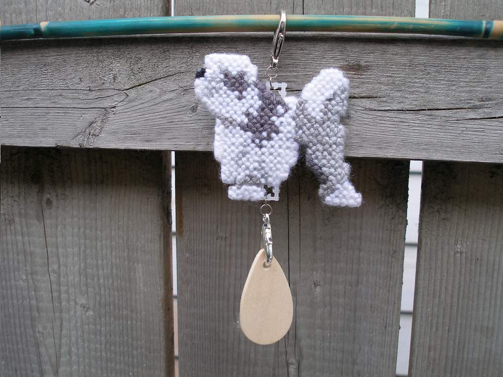 Lowchen dog crate tag or home decor, hang anywhere, hand stitched art by artist
