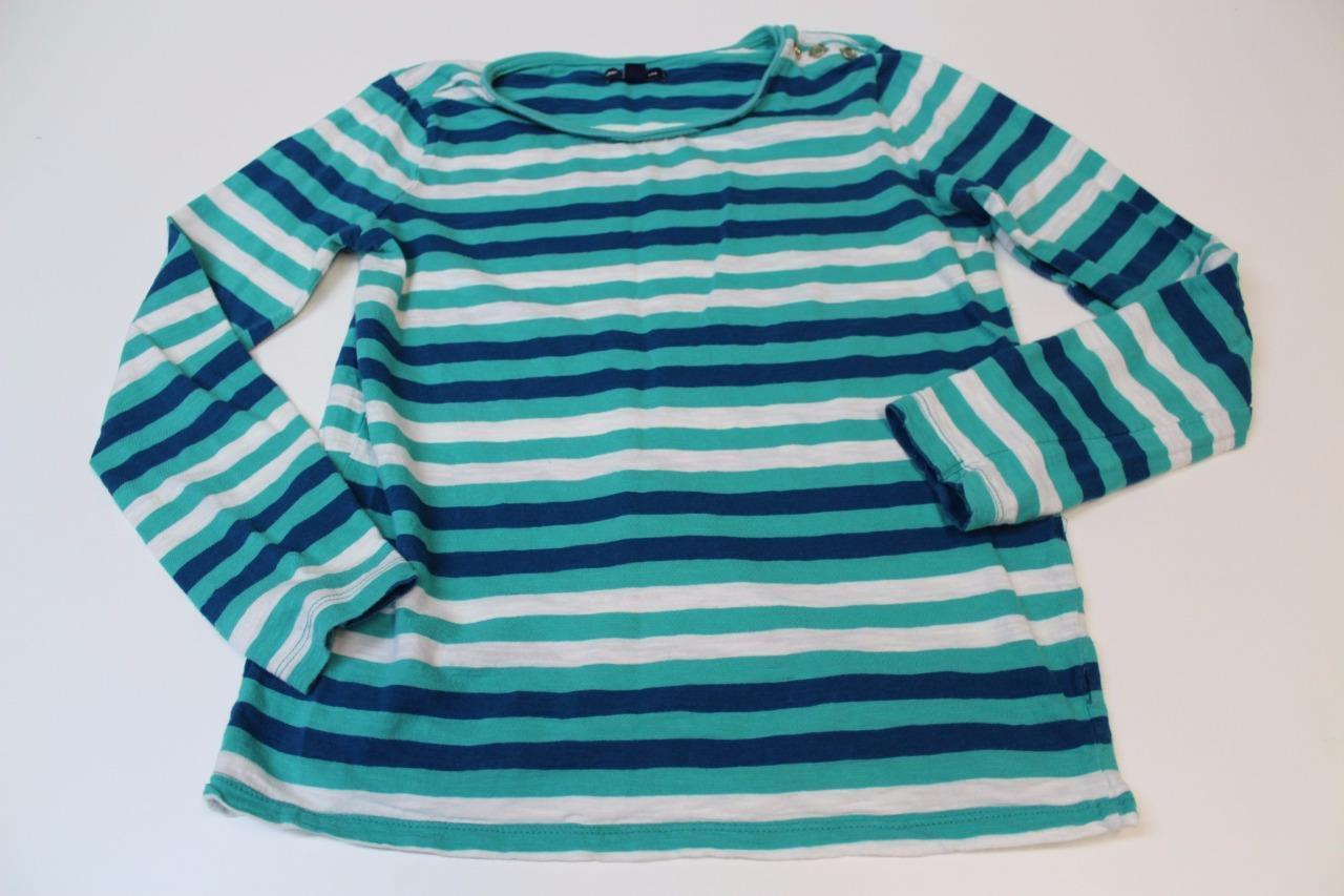 W12520 Womens GAP Teal/Blue/White Striped LONG SLEEVE SHIRT Top Small - $19.29