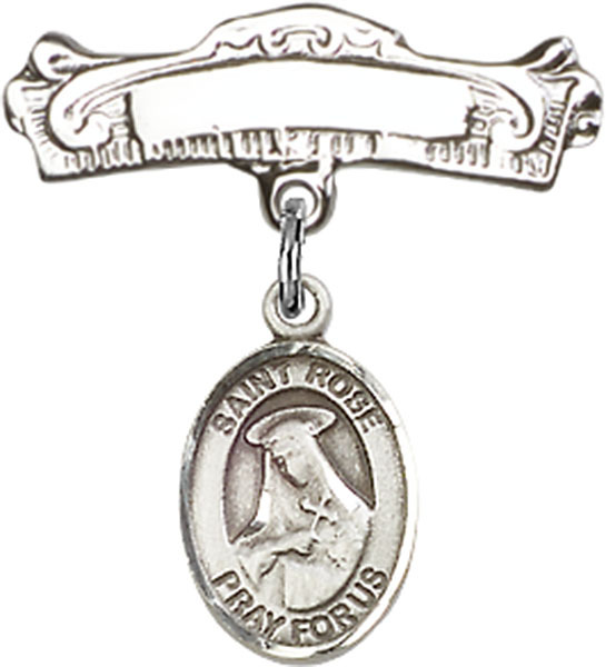Sterling Silver Baby Badge with St. Rose of Lima Charm Pin 7/8 X 7/8 inch - $61.43