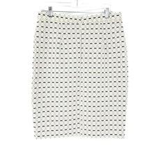 Baum Und Pferdgarten Pencil Skirt Women's Sz M White Blue Gold Metallic Buttons image 2