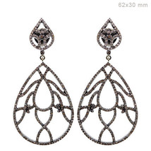 14k Yellow Gold 2.88ct Diamond Pave .925 Sterling Silver Dangle Earrings... - $734.09