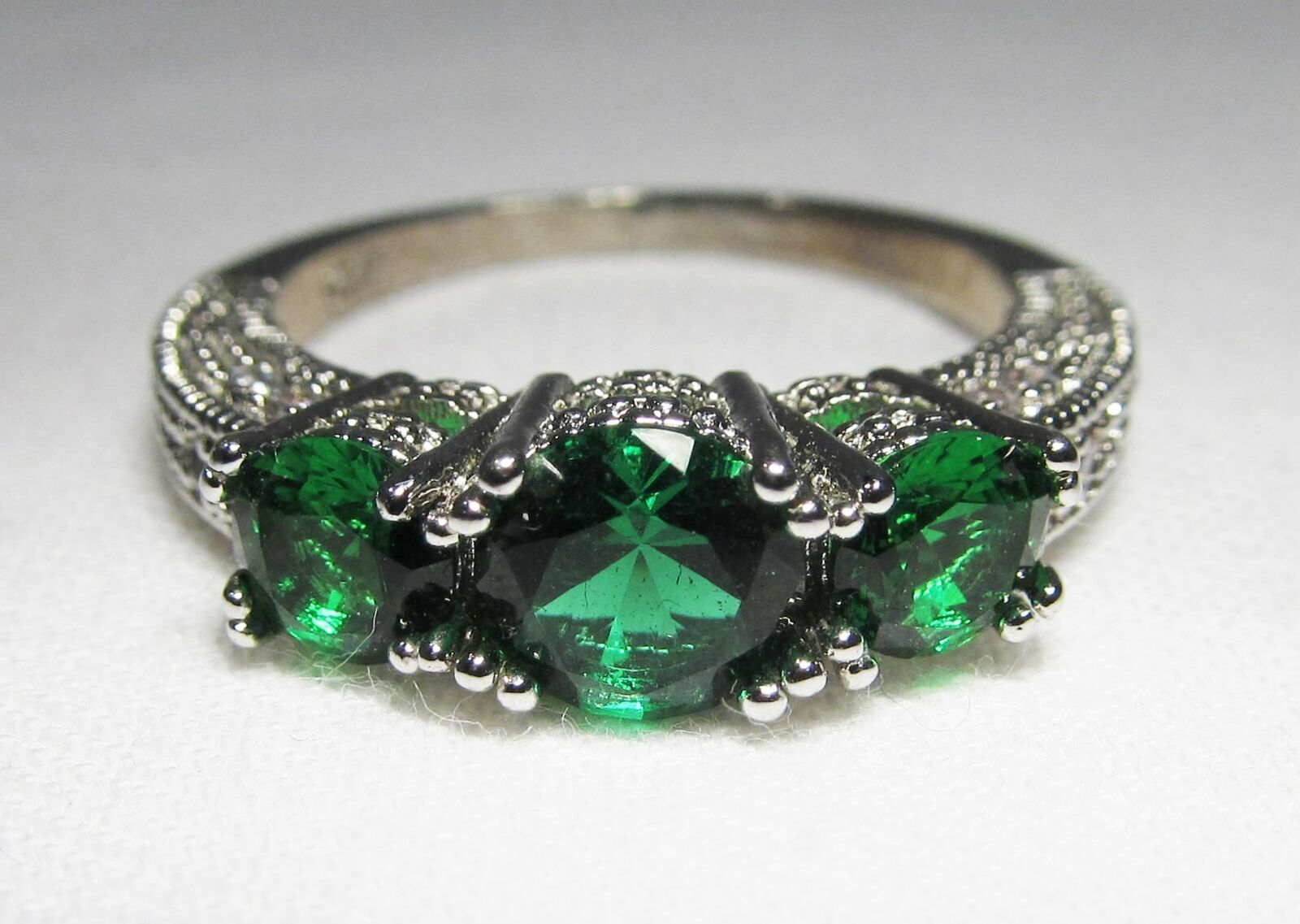 Primary image for Sterling Silver Green & CLear Ladies Ring Earrings Set C1327