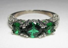 Sterling Silver Green & CLear Ladies Ring Earrings Set C1327 - $37.64