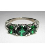 Sterling Silver Green & CLear Ladies Ring Earrings Set C1327 - $37.64