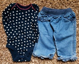Girl's Size 6 M 3-6 Months 2 Piece Navy Heart L/S Old Navy Top & Circo J... - $16.00