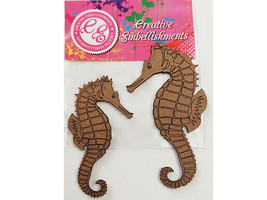Creative Embellishments Seahorse Chipboard Accent Pieces, Set of 2