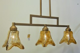 Rustic Glass Kitchen Linear Island Light Unique Bronze Finish Kichler Lighting - $153.84