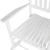 Outdoor Seating Furniture Handcrafted Solid Wood Rocking Chair in White... - $125.68
