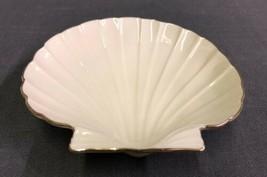 Lenox Seashell Candy Dish Gold Rim Scalloped Edge Ivory Cream Aegean Collection - $11.83