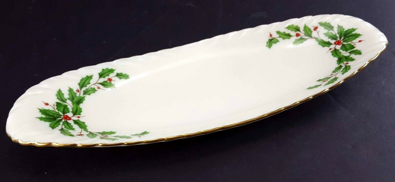 """LENOX China Holiday Dimension Open Butter Dish or Relish Tray 9-1/8"""" Dinnerware"""
