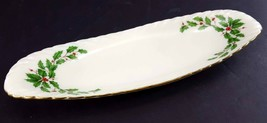 "LENOX China Holiday Dimension Open Butter Dish or Relish Tray 9-1/8"" Din... - $29.69"