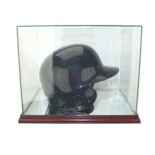 Perfect Cases Batting Helmet Display Case with Glass Top and Cherry Base
