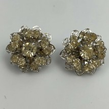 Sarah Coventry Silver Tone Clear Rhinestone Flower Clip On Earrings Cluster Sign - $14.80