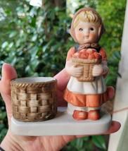 "Vintage 1980 Girl With Basket of Apples votive candle holder. Marked ""WA... - $11.88"