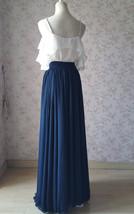 2020 Navy Bridesmaid Chiffon Skirt Floor Length Navy Full Long Chiffon Skirt image 4