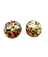 Vintage Lucite Multi Color Mosaic Look Clip on Earrings - $13.39