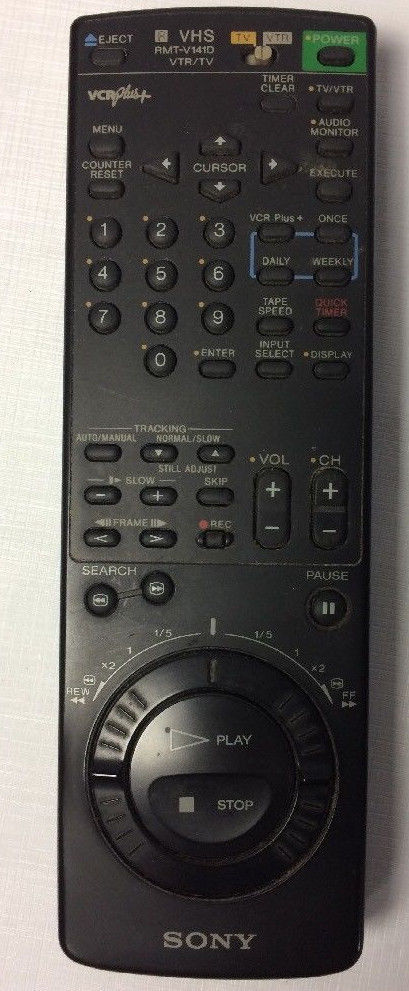 Genuine SONY Remote Control VHS RMT-V141D VTR/TV VCR Plus+ Remote Control