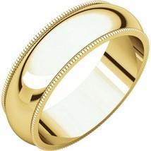Fine 10k Yellow Gold 6 mm High Polished Traditional Milgrain Wedding Rin... - $119.79+