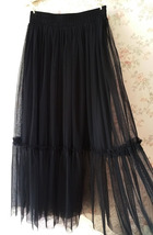 Black A-line 2 layer Tulle Bloom Pleated Mid-calf Fashion Tulle Skirt Any Size  image 2