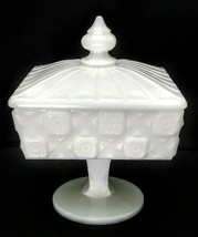 Vintage Westmoreland Milk Glass Old Quilt Sweetmeat Covered Candy Box - $6.95