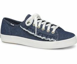 Keds WF59239 Women's Kickstart Ruffle Denim Blue Shoes, 8 Med - $55.39 CAD