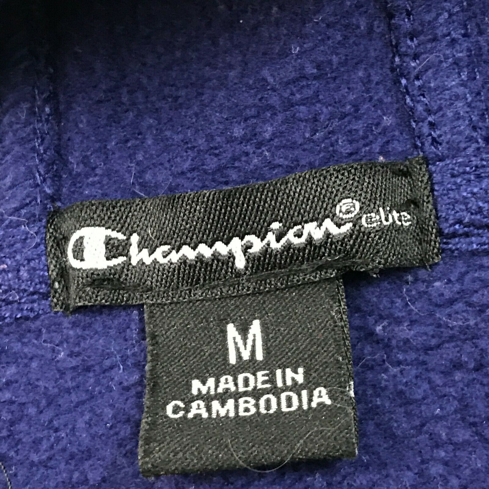 Champion ELITE Full Zip Hoodie Sweater Men M Runner Blue Long Sleeve Semi-Fitted
