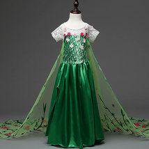 Sweep Train Elsa Pricess Flower Girl Dresses  Green Cosplay Pageant Prom... - $21.99