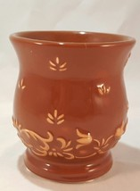 "Yankee Candle ""Victoria Chocolate"" Brown Candle Holder with Floral Design - $7.69"