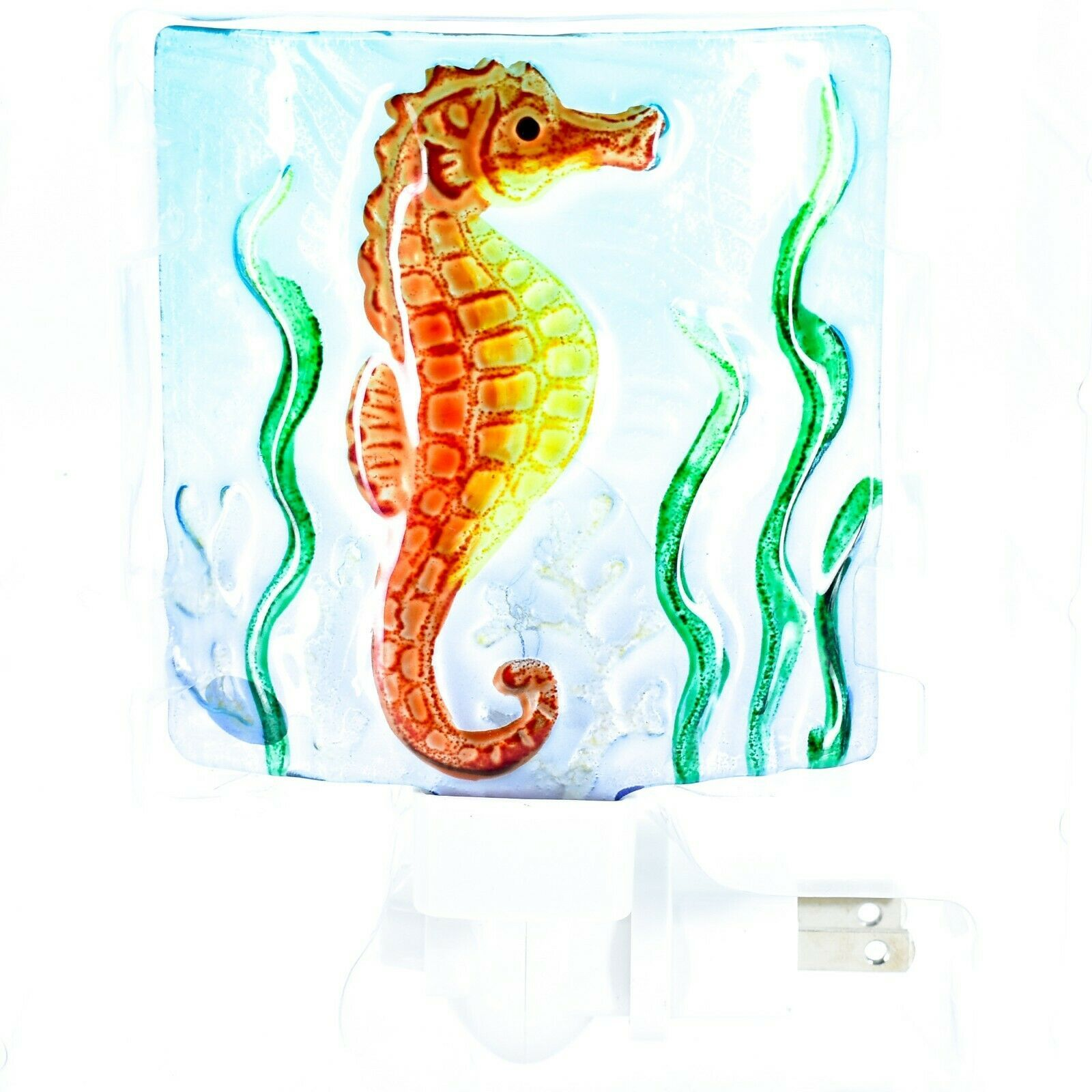 "Jaco Handcrafted Fused Glass Ocean Seahorse 4"" Square Night Light"