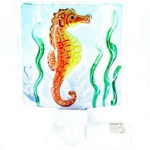 "Jaco Handcrafted Fused Glass Ocean Seahorse 4"" Square Night Light image 1"