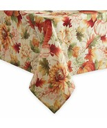 """Printed Fabric Tablecloth 60""""x84"""" Oblong,FALL HARVEST,PUMPKINS & LEAVES,... - $22.76"""