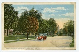 Overlook Road Euclid Heights Cleveland Ohio Postcard 1911 Old Cars - $13.86